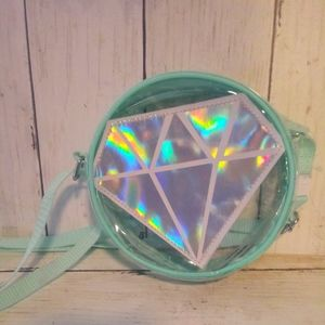 Cute clear w holographic diamond small bag